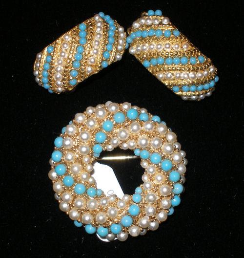 Turqoise & Pearl Pin Set